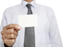 Man with blank business card Royalty Free Stock Photos