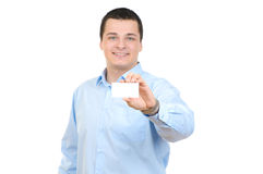 Man with blank card Royalty Free Stock Images