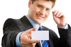 Man with blank card Stock Photo