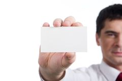 Man with blank card Stock Images