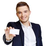 Man with blank card Stock Photography