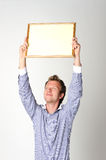 Man with blank certificate Royalty Free Stock Photography