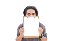 Man With Blank Clipboard Stock Image