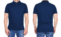 Man in blank dark blue polo shirt from front and rear royalty free stock images