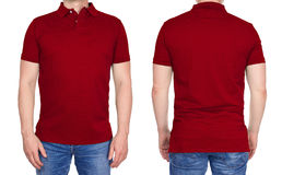 Man in blank dark red polo shirt from front and rear Stock Photos