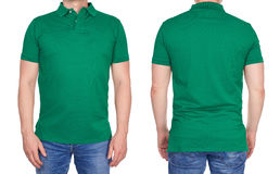 Man in blank green polo shirt from front and rear Royalty Free Stock Images