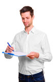Man with blank in hand Stock Photography