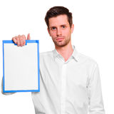 Man with blank in hand Royalty Free Stock Image