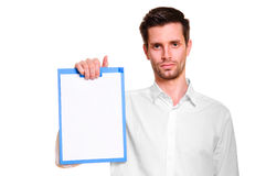 Man with blank in hand Stock Photo