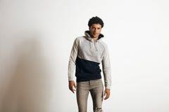Man in blank heather gray clotching mockup set stock photos