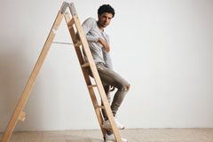 Man in blank heather gray clotching mockup set Stock Photography