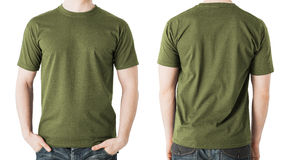 Man in blank khaki t-shirt, front and back view. Clothing design concept - man in blank khaki green t-shirt, front and back view Royalty Free Stock Image