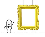Man & blank museum frame. Hand drawn characters Stock Image