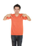 Man with blank orange t-shirt Royalty Free Stock Photography