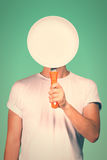 Man with a blank pan Stock Photos