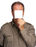 Man with blank paper Stock Photo