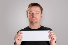 Man with blank paper Stock Photography