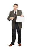 Man with a blank sheet of paper Royalty Free Stock Images