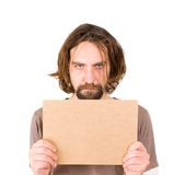 Man with blank sign Stock Photography