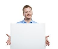 Man with blank sign board Royalty Free Stock Photos