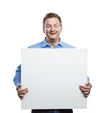 Man with blank sign board Stock Images