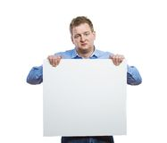 Man with blank sign board Stock Photos