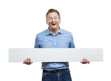 Man with blank sign board Royalty Free Stock Photography