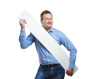 Man with blank sign board Royalty Free Stock Photo