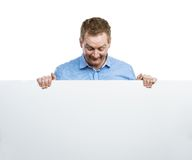 Man with blank sign board Stock Photo