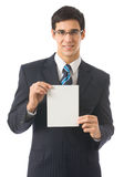 Man with blank signboard Royalty Free Stock Images