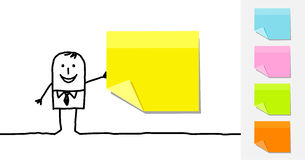 Man and blank sticky notes royalty free illustration