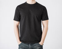 Man in blank t-shirt. Close up of man in blank t-shirt Royalty Free Stock Photography