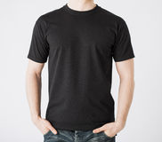 Man in blank t-shirt. Close up of man in blank t-shirt Stock Photo