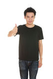 Man in blank t-shirt with thumbs up Royalty Free Stock Images