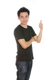 Man in blank t-shirt with thumbs up Stock Photos