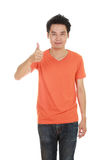 Man in blank t-shirt with thumbs up Royalty Free Stock Photography