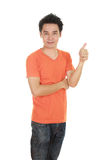 Man in blank t-shirt with thumbs up Stock Photography