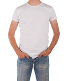 Man in blank white shirt Royalty Free Stock Photos