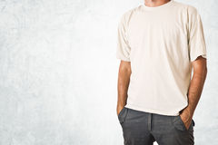 Man in blank white t-shirt Stock Image