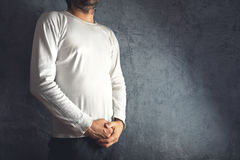 Man in blank white t-shirt Stock Photography