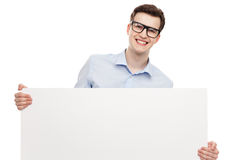 Man with blank whiteboard. Young man with blank whiteboard Stock Photography