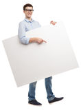 Man with blank whiteboard Royalty Free Stock Photo