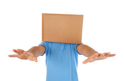 Man blinded by the box to put on his head Stock Images