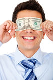 Man blinded by the money Royalty Free Stock Image
