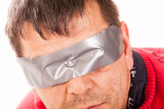 A man blindfolded. Royalty Free Stock Photos
