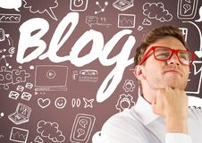 Man with Blog graphic drawings Stock Images