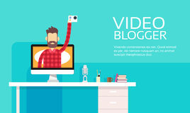 Man Blogger Hold Camera Video Computer Blogging Concept Royalty Free Stock Photography