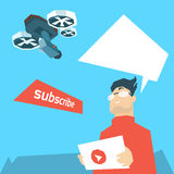 Man Blogger Hold Tablet Drone Flying Air Quadrocopter Video Blog stock illustration