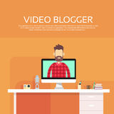 Man Blogger Video Computer Blogging Concept Royalty Free Stock Images