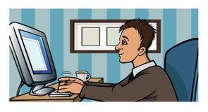 Man blogging computer Stock Image
